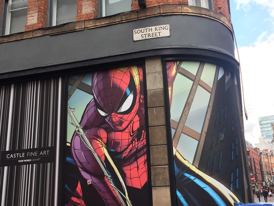 street art spiderman manchester