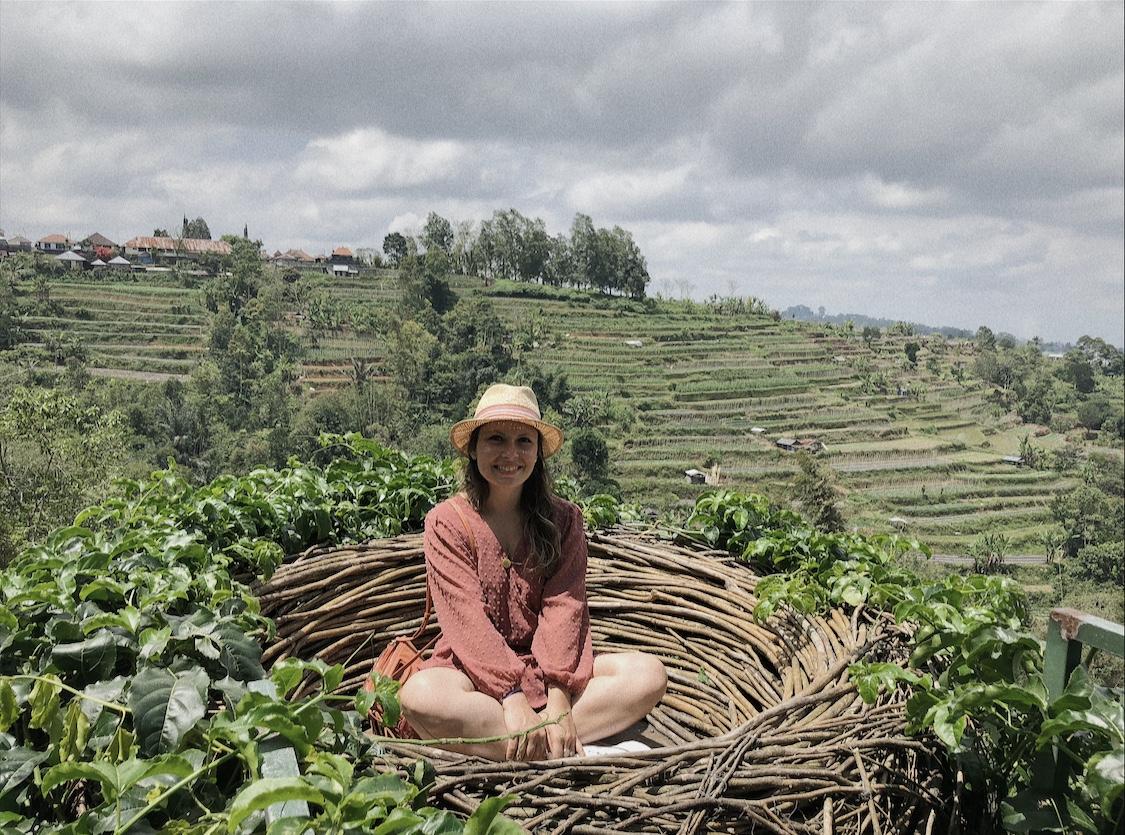 Partir seule à Bali Nid café Rizières
