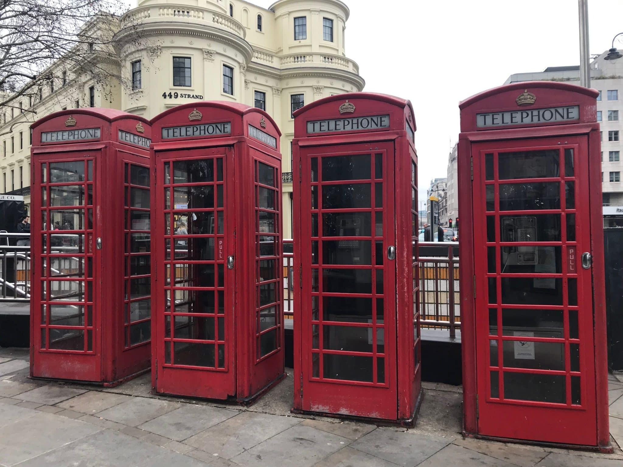 cabines téléphone rouge 4 jours à londres