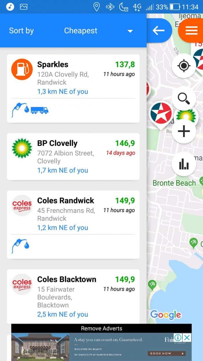 application fuel map australie