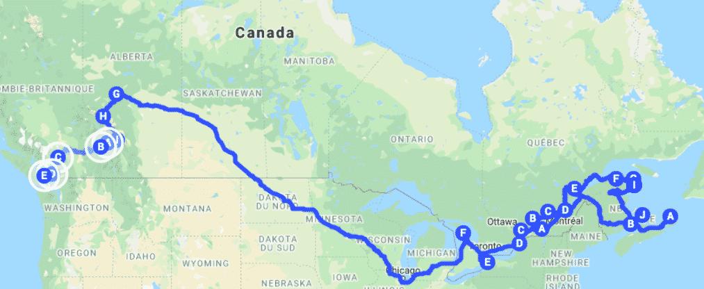 carte de l'itinéraire au Canada