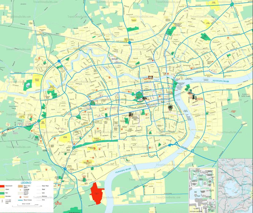 Carte détaillée de Shanghai