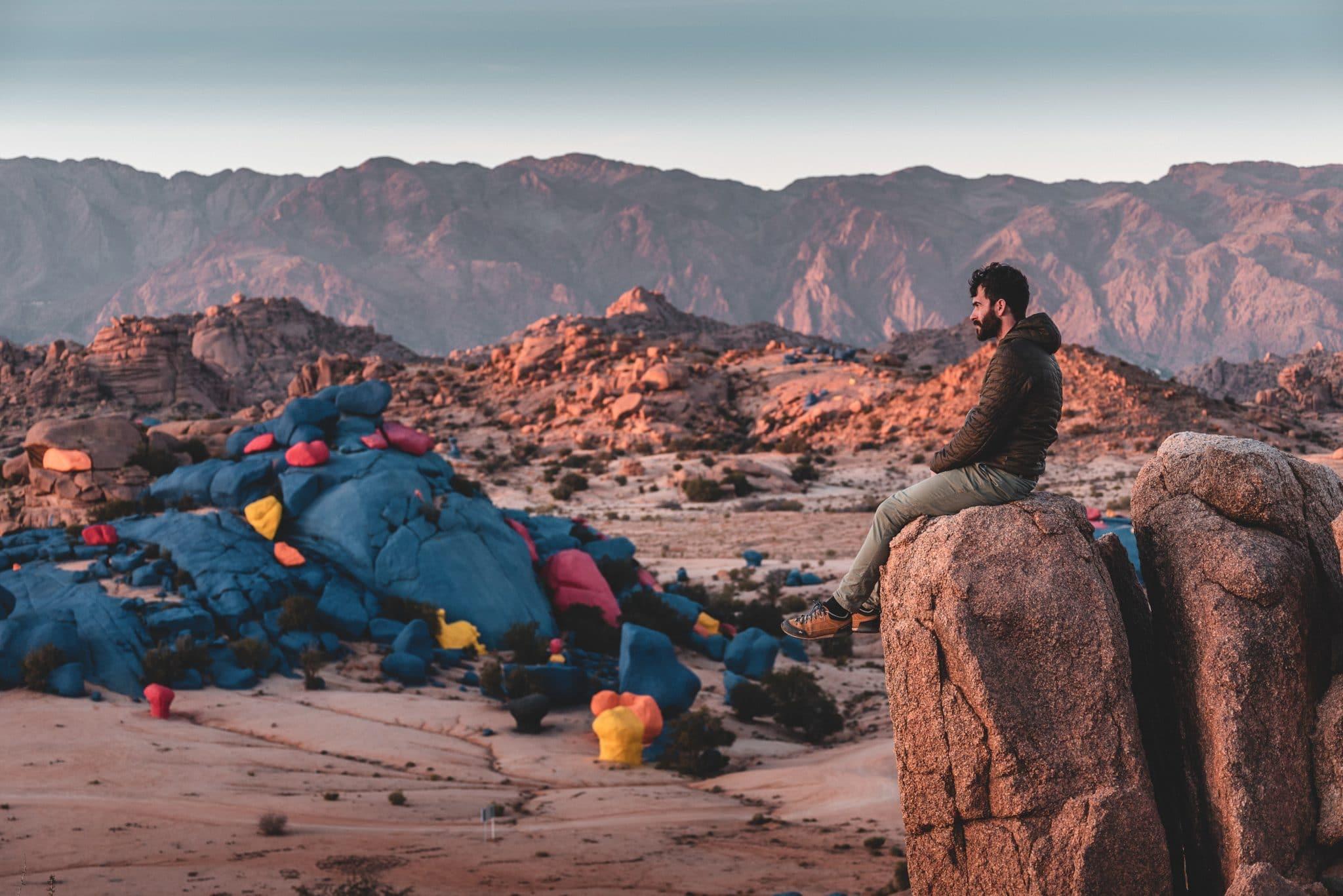 photo des rochers peint au maroc