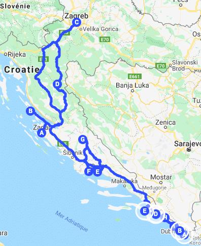 itineraire road trip carte croatie