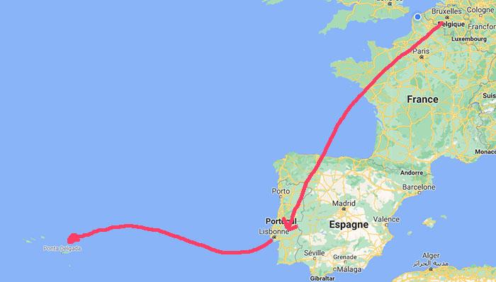 itinéraire carte bruxelles Sao miguel