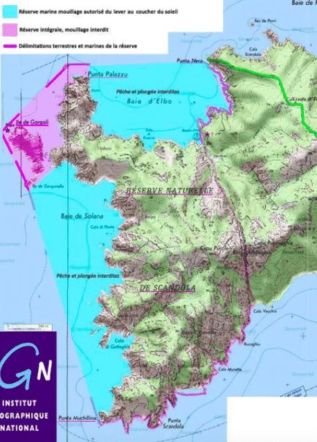 La carte IGN de la réserve de scandola